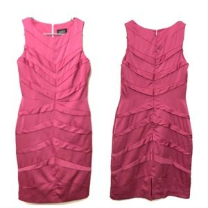 ADRIANNA PAPELL Tiered Pink Dress
